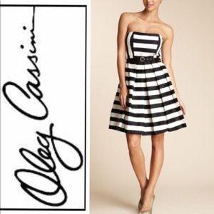 Oleg Cassini black/white strapless dress NWT 12